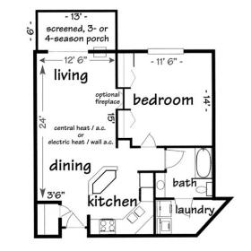 Madison 1 bedroom apartment - click for floor plan