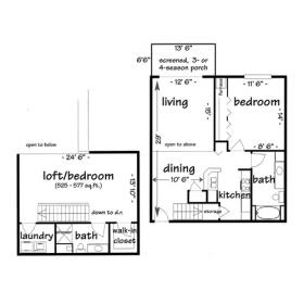 Click for floor plan - 2 bedroom lofted apartment