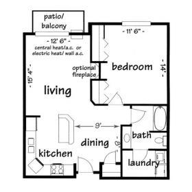 1 bedroom apartment - click for floorplan