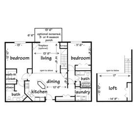 2 bedroom loft apartment-madison wi - click for floorplan